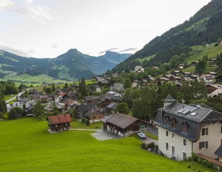 Hillside with Houses in Gstaad, Switzerland
