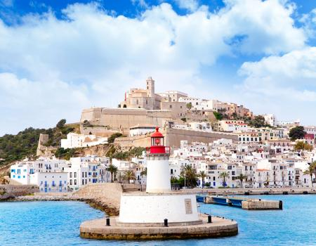 View from sea of Ibiza in Spain