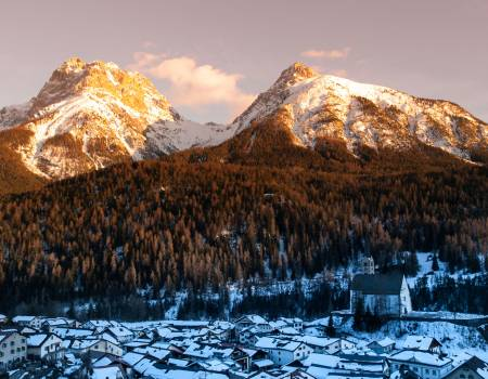 Snowy Mountains Near Scuol, Switzerland