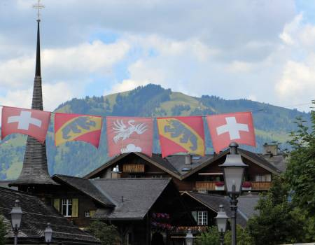 Flags Flying in Gstaad, Switzerland
