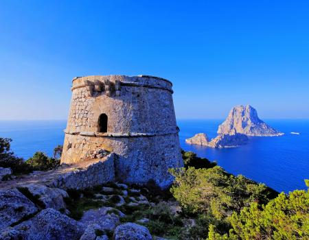 Historic seaside tower in Ibiza, Spain