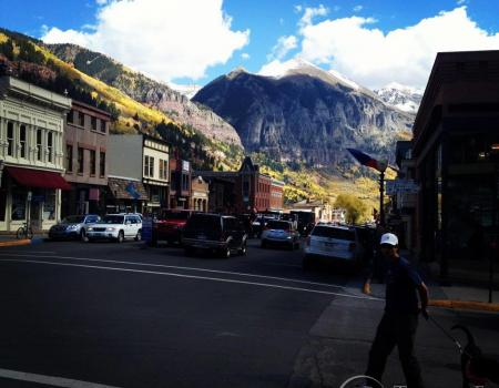 Town of Telluride with Snow Capped Mountains