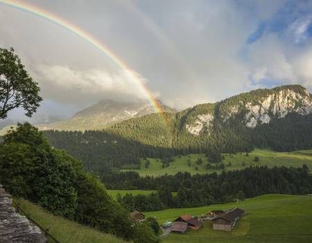 Rainbow in the Valley, Gstaad, Switzerland