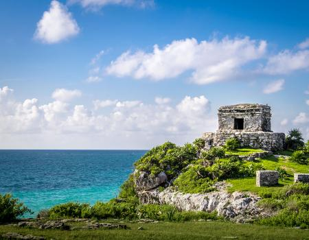 Seaside Mayan tower on a cliff in Mexico
