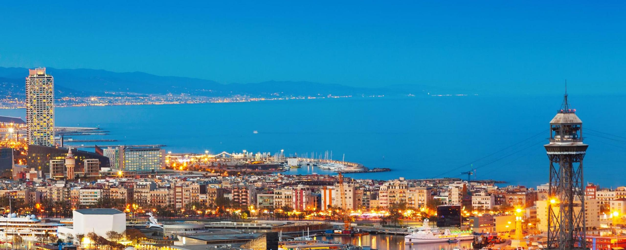 Port in Barcelona Spain at Night