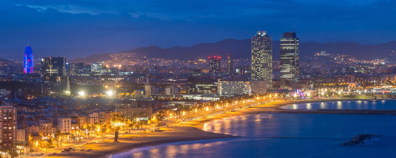 Barcelona City Lights at Night