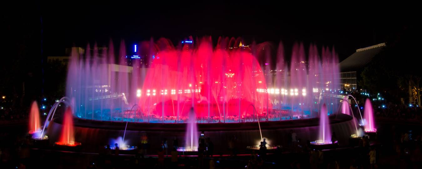 Montjuic Magical Light Fountain at Night in Barcelona