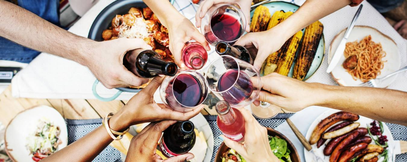 Group drinking wine at dinner