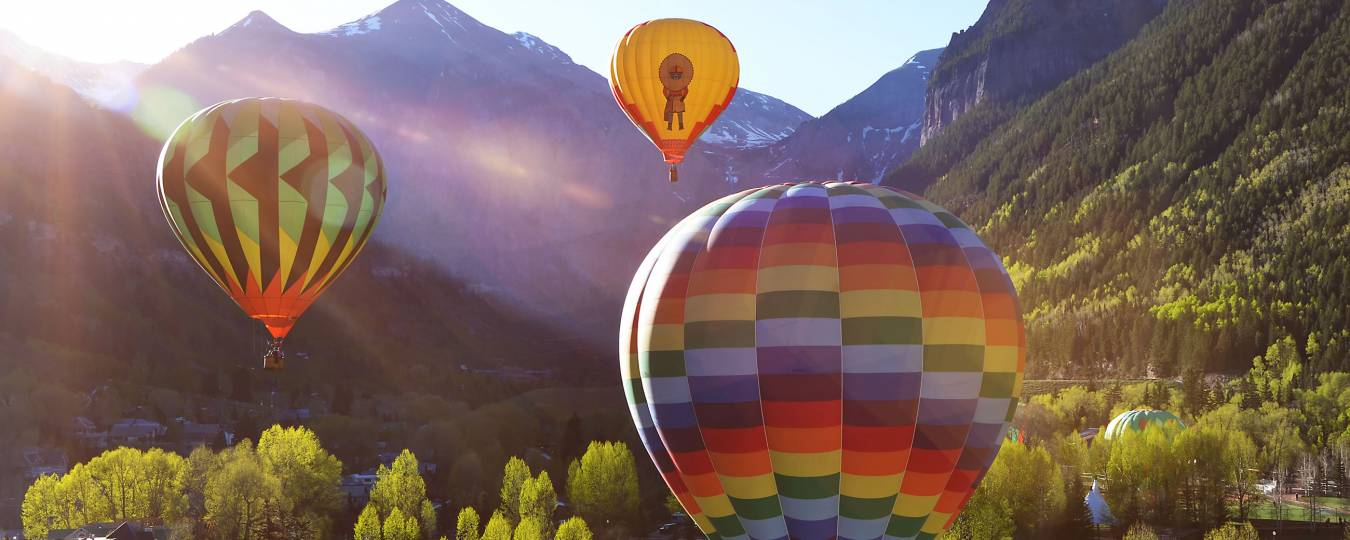 Hot Air Balloons Over Telluride with Mountain in the Background