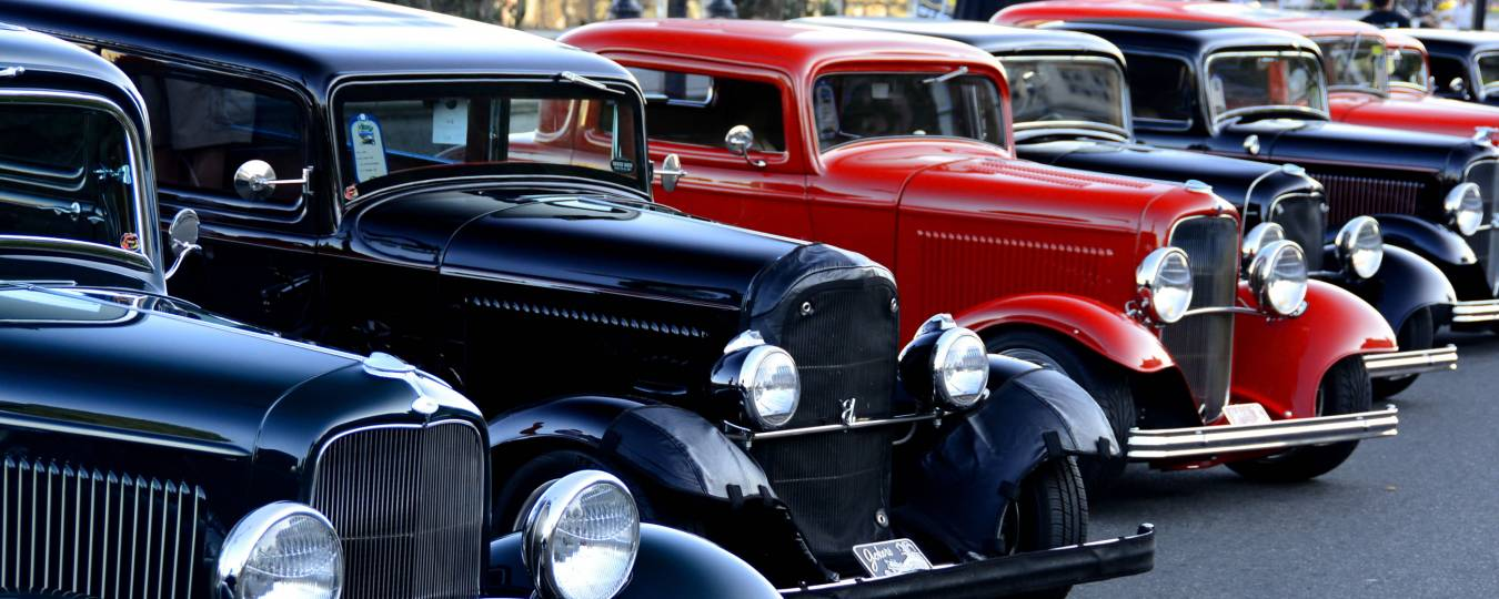 Classic Cars Lined Up