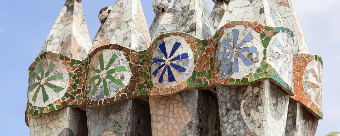 Casa Batllo Housetop Chimneys with Mosaic Tiles