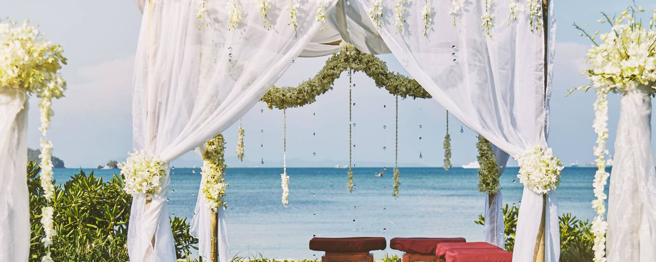 Wedding setup on beach in Tulum