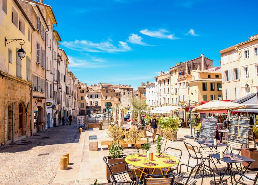 Town square with cafes in Provence, France