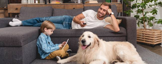 Family spending time with pet in luxury vacation rental