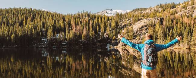 Man enjoying Telluride lake scenery