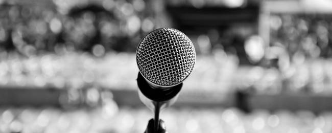 Black and White of a Microphone