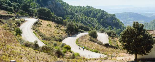 Cyclists on a Mountain Road in Mallorca