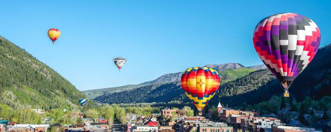 Hot Air Balloons Fly Over Telluride