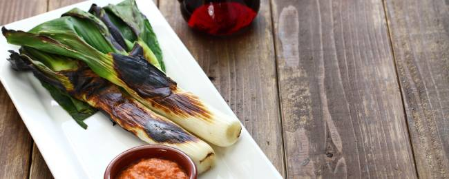 Roasted Calcots Served With Romesco Sauce