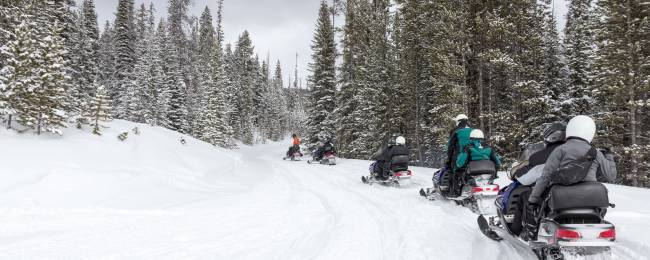Snowmobiling in a group during winter near Telluride.