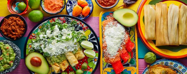 Variety of traditional Mayan and Mexican cuisine