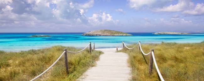 Walkway to Illetas Beach on Formentera Island, Spain
