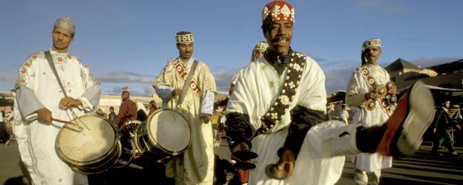 Gnaoua Musicians Performing at Jemaa el-Fnaa Square