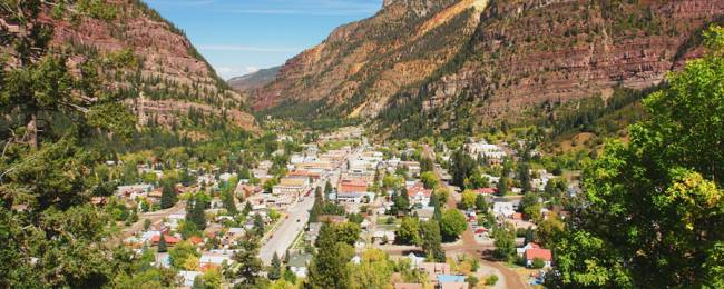 View of Ouray town near Telluride