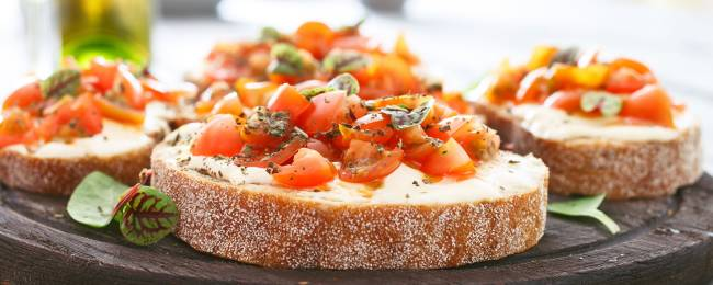 Tomatoes, Goat Cheese and Fresh Basil on Bread