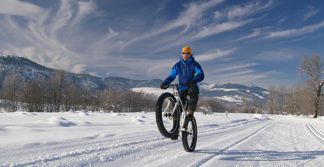 Man fat tire biking in Telluride