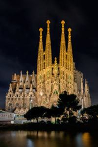 Basilica of the Sagrada Familia Lights at Night