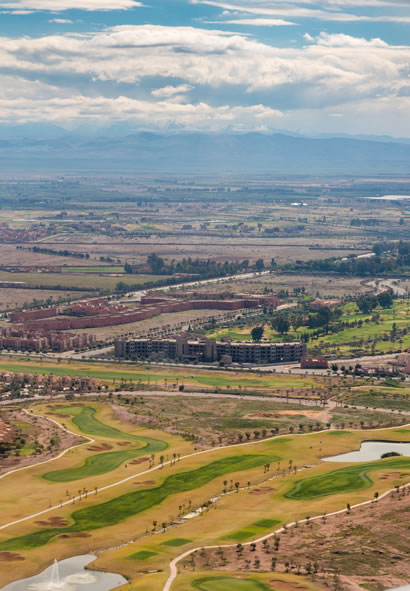 Aerial view of Marrakesh Suburbs and Golf Course
