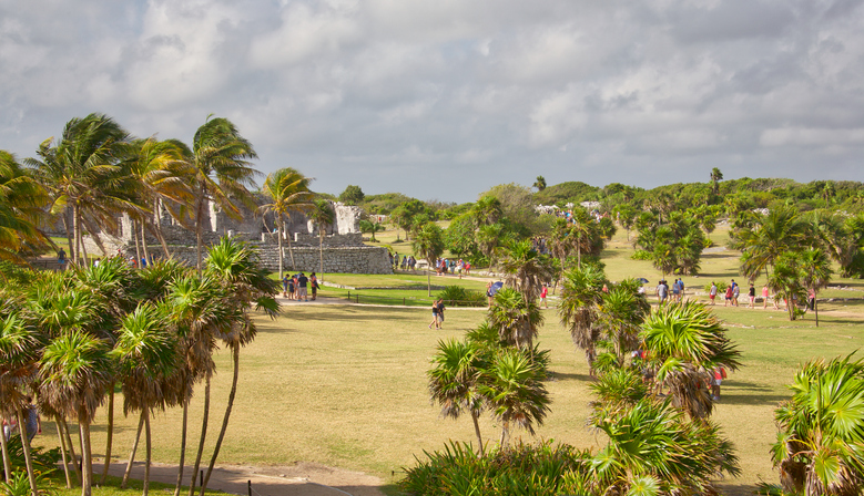 Tourists Visiting Mayan Ruins in Tulum, Mexico
