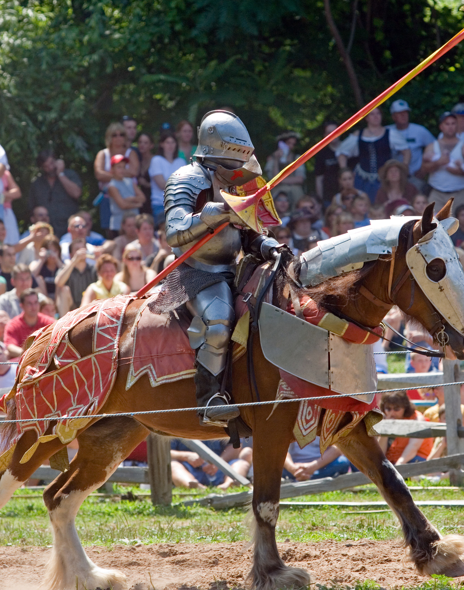 Medieval Re-enactment of Knight in Armor on Horse