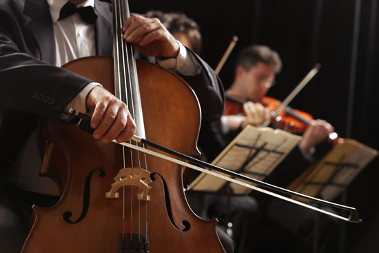 Cello Being Played in an Orchestra