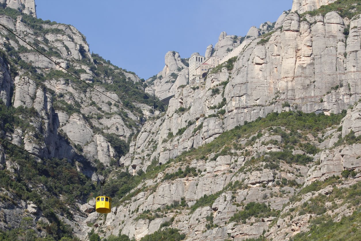 Cable Car in Front of Montserrat