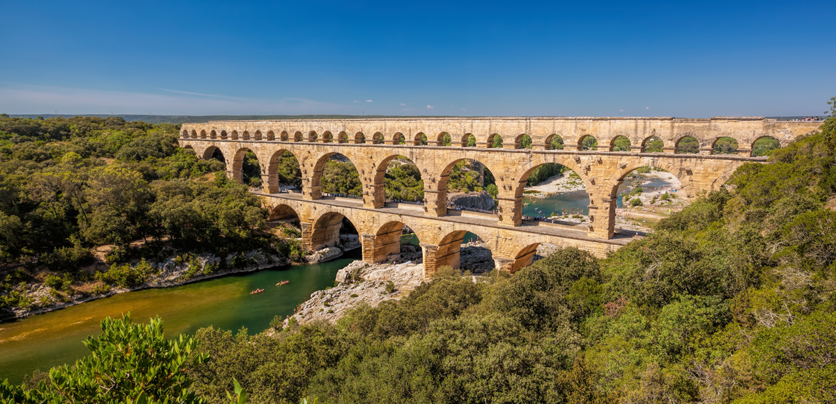 Roman aqueduct in Provence, France