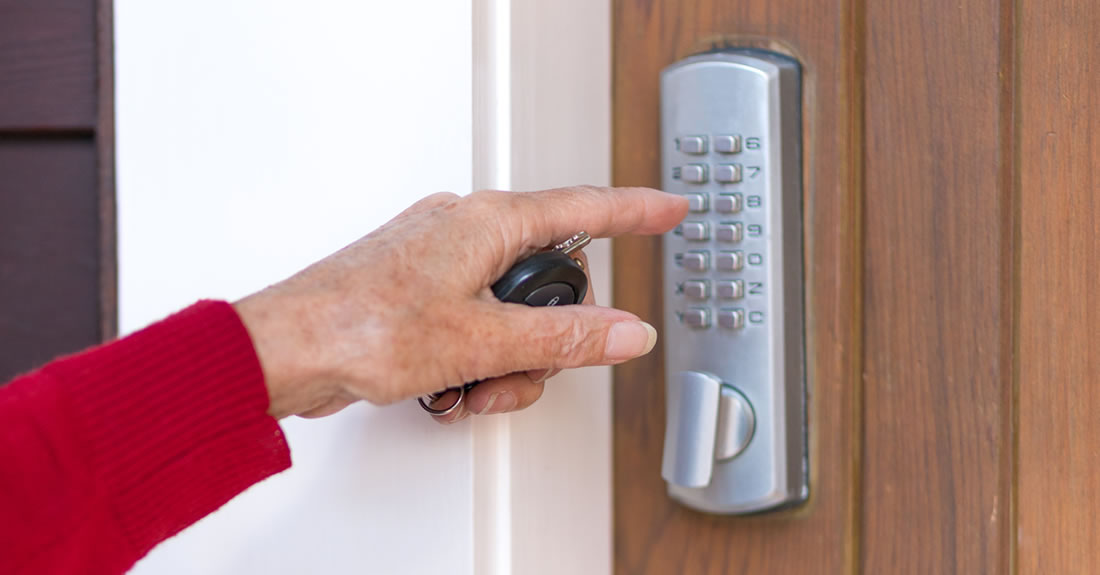 keypad lock on luxury property rental in Telluride