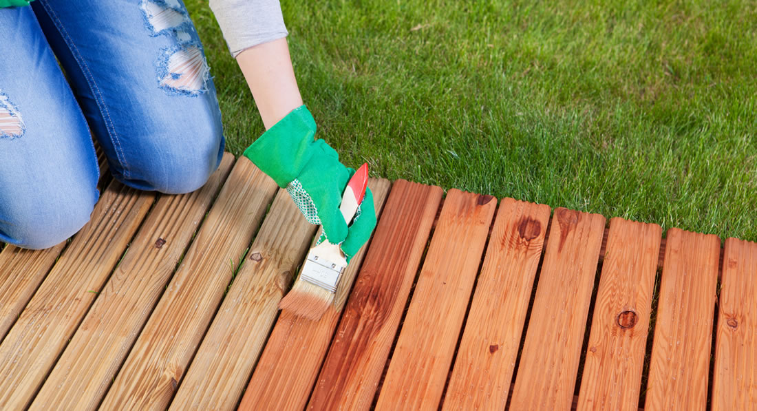 Re-finishing deck at luxury vacation rental