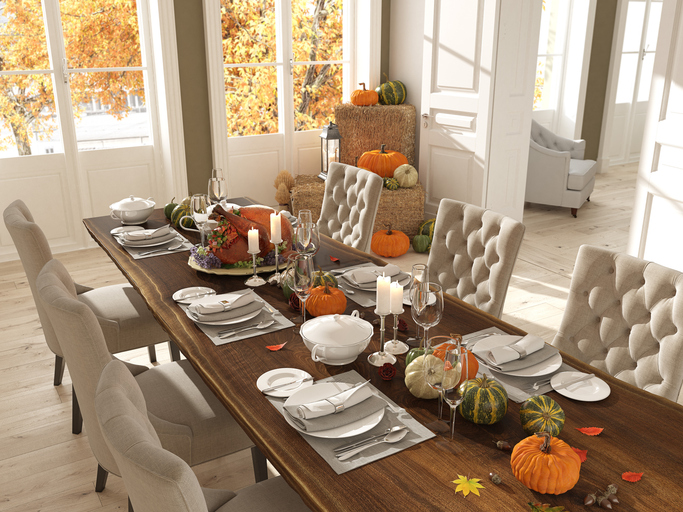 Table Set for Thanksgiving at Home