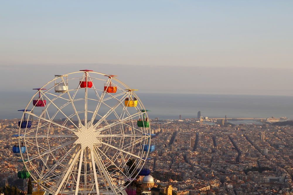 Ferris Wheel at Tibidabo Park Overlooking Barcelona